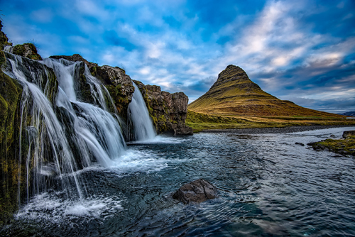 Kirkjufell and waterfall. Photo by David Mark. All rights reserved.