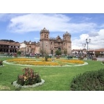 Cusco Plaza, elevation 11,000'. Photo by Joe and Marcia Pugh. All rights reserved.