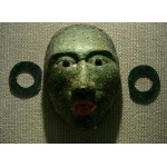 Jade Mask from Calakmul. Photo by Rick Taylor. Copyright Borderland Tours. All rights reserved.