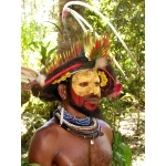 Huli Tribesman with bird-of-paradise head-dress.. Photo by Adam Riley. All rights reserved.