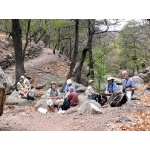 Lunch at Boot Spring, Chisos Mountains. Photo by Rick Taylor. Copyright Borderland Tours. All rights reserved.
